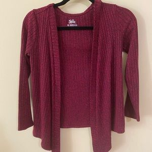 Justice Soft Wine Red Cardigan